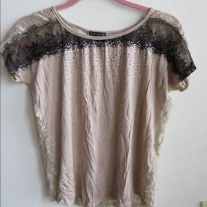 Venus Tan Top with sheer lace back
